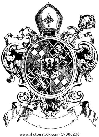 ornate heraldic shields - stock vector