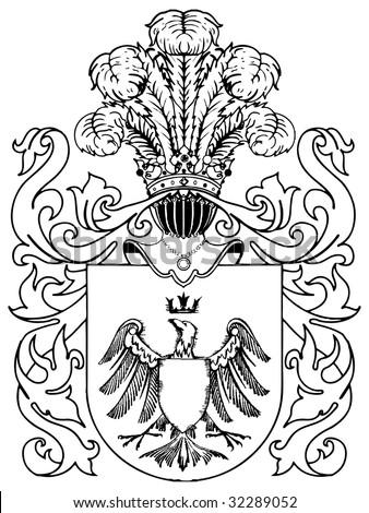 ornate heraldic shields illustration on white background - stock vector