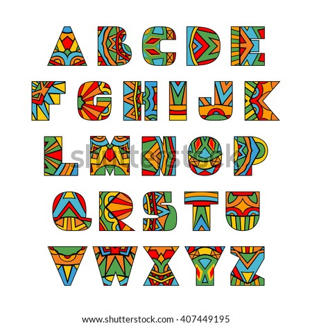 abc letters ethnic pattern aztec style