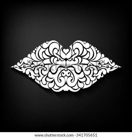 Ornate  lips icon logo kiss  lipstick - stock vector