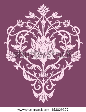 Ornate Lotus Flower Vector  - stock vector