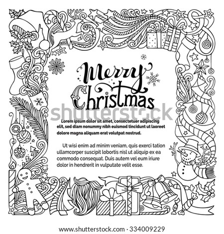 Ornate Merry Christmas doodles frame. Christmas tree and Christmas balls, gifts and bows, snowman, gingerbread man, deer, candle, Santa sock, hat, beard and glasses, holly berries, hand-written text. - stock vector