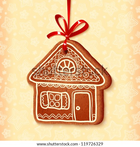 Ornate realistic vector traditional gingerbread house with red ribbon - stock vector