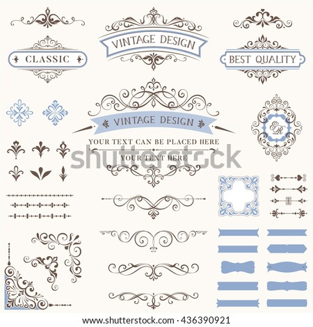 Ornate retro labels, flourishes elements, calligraphy swirls, corner ornaments and frames. Use for vintage wedding invitations, royal certificates, greeting cards, menus, covers and posters.  - stock vector