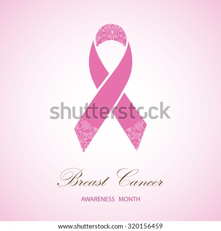 Ornate Ribbon of Breast Cancer on  pink background. Vector illustration can be used for design poster, banner - stock vector