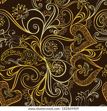 ornate seamless, golden pattern  with bells on brown background