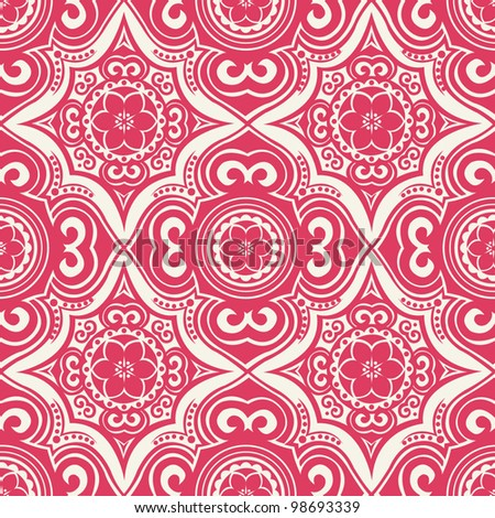 ornate seamless pattern, decorative vector wallpaper - stock vector