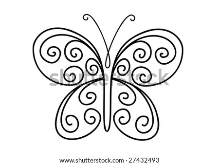 Ornate shape of butterfly isolated on white background - stock vector