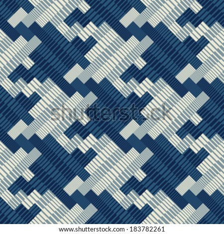 Ornate striped textured houndstooth seamless pattern. Vector. - stock vector
