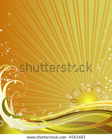 Ornate sunny background - stock vector