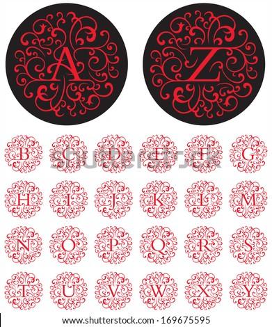Ornate Swash Alphabet Elegant drop cap vector letters in circular swash patterns.  - stock vector