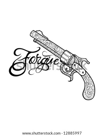 ornate tattoo gun - stock vector