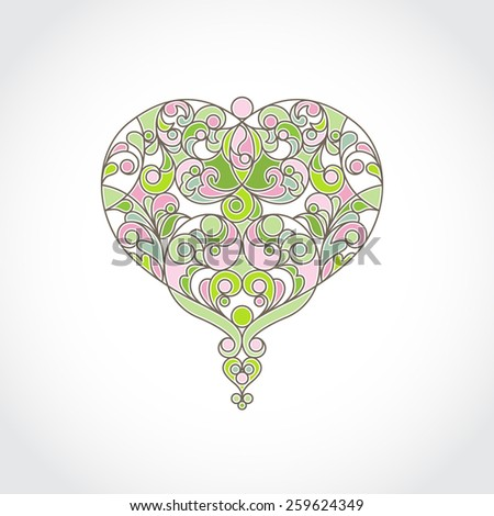 Ornate vector heart in line art style. Elegant spring element for logo design, place for text. Floral illustration for wedding invitations, greeting cards, Valentines cards. Green outline pattern. - stock vector