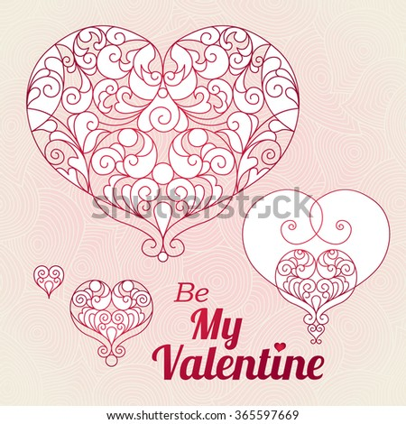 Ornate vector hearts in Eastern style. Elegant element for logo design, place for text. Lace floral illustration for wedding invitations, greeting cards, Valentines cards. Graceful line art pattern. - stock vector