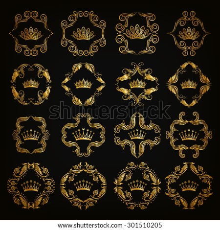 Ornate vector set. Decorative victorian golden crowns and heraldic floral elements on black background. In vintage style. Illustration EPS 10.