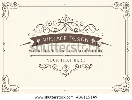 Ornate vintage card design with ornamental flourishes frame. Use for wedding invitations, royal certificates, greeting cards, menus, covers, posters, brochures and flyers. Vector illustration. - stock vector