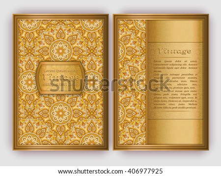 Ornate vintage cards with round floral pattern. Decorative oriental templates for brochure, flyer, booklet. Front page and back page, size A5. Elegant layout. Islam, Arabic, Indian, ottoman motifs. - stock vector