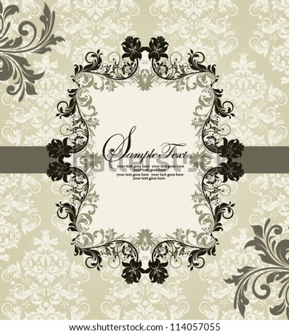ornate vintage frame on damask background