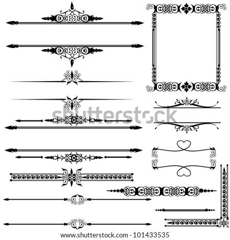 Ornate vintage frame set with rule lines. - stock vector