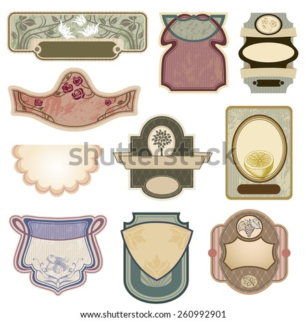 Ornate vintage labels in style Art Nouveau. All elements separately.  - stock vector