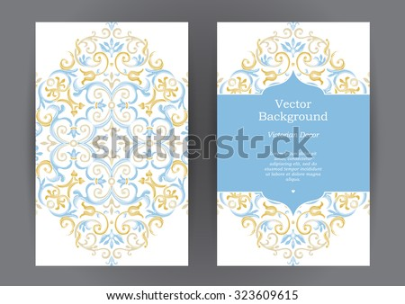 Ornate vintage vertical cards. Pastel decor in Eastern style. Template frame for save the date and greeting card, wedding invitation, certificate, leaflet, poster. Vector border with place for text. - stock vector
