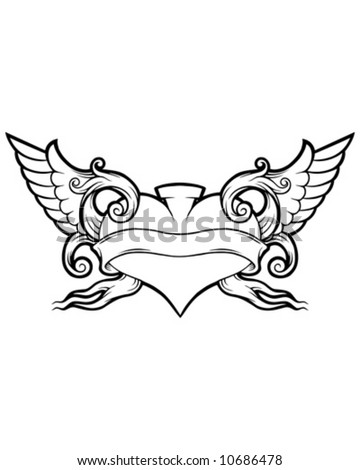 ornate winged heart - stock vector