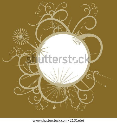 Ornate winter border with fancy surround - stock vector