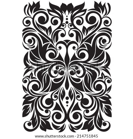 Ornate with stylized butterfly. Floral background with swirl and