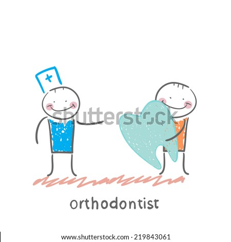 orthodontist patient receives a bad tooth - stock vector