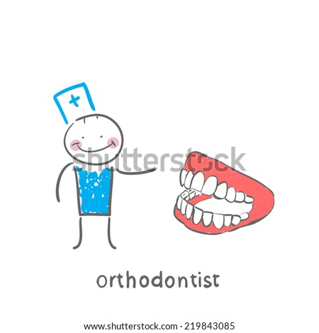 orthodontist with the jaw - stock vector