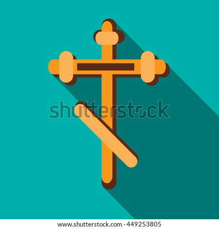 Orthodox cross icon in flat style on a turquoise background - stock vector