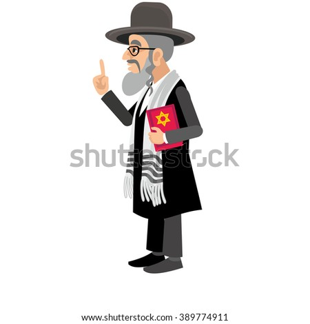 orthodox jew,hassid,rabbi,with Payot and book - stock vector