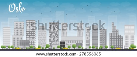 Oslo Skyline with Grey Building and Blue Sky. Vector Illustration. Business travel and tourism concept with modern buildings. Image for presentation, banner, placard and web site. - stock vector