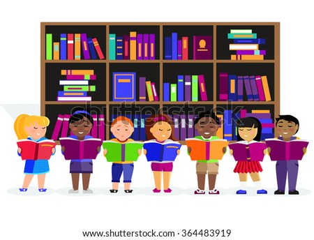 Other children read books in the library. Education child or kid, learning student, reading and study, people studying, literature textbook in flat design. Various nationalities students reading books - stock vector