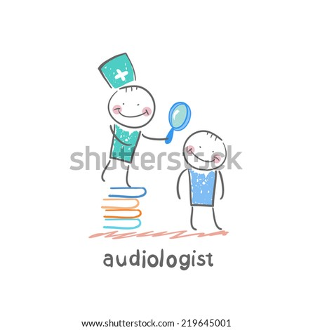 otolaryngologist stands on a pile of books and looking through a magnifying glass on the patient's ear - stock vector