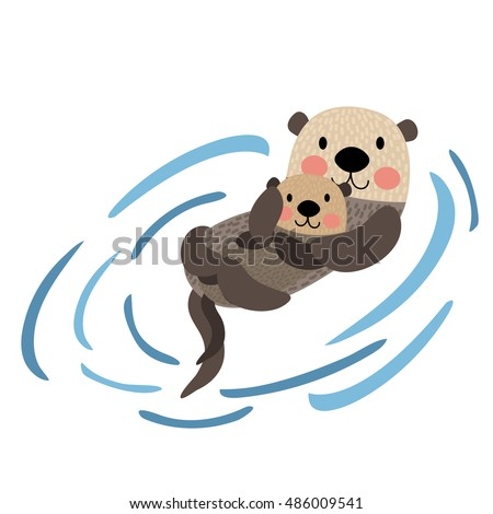 Otter Couple Holding Hands Animal Cartoon Character Isolated On White