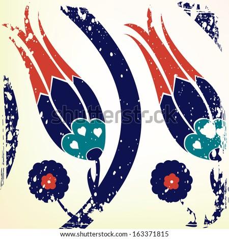 ottoman style tulip background - stock vector
