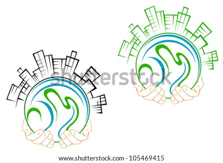 Our green earth planet with buildings in people hands for environment concept design. Jpeg version also available in gallery - stock vector