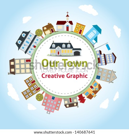 Our Town with Lovely House Icons - stock vector