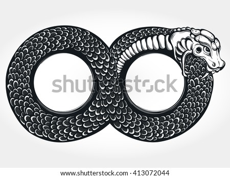 ouroboros devouring own tail tattoo design stock vector 413072044 shutterstock. Black Bedroom Furniture Sets. Home Design Ideas