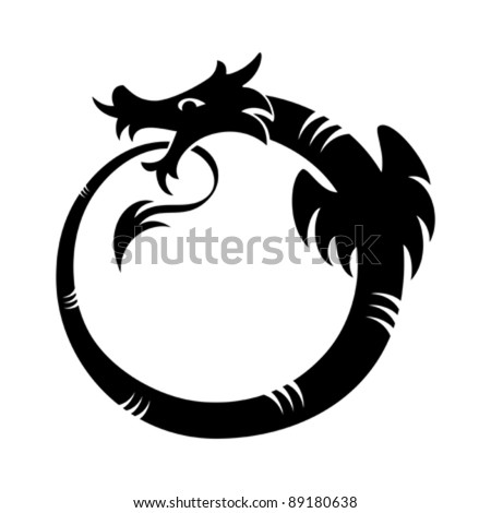 Ouroboros (dragon eating its own tail) tattoo isolated - stock vector