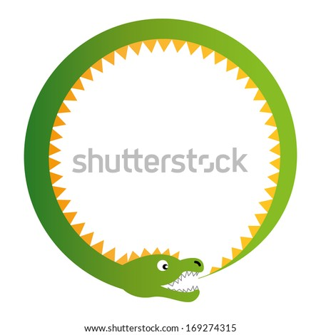 Ouroboros illustration -  the serpent (dragon) eating his tail, the symbol of continuity, self-reference, cyclical and the eternal return.  - stock vector