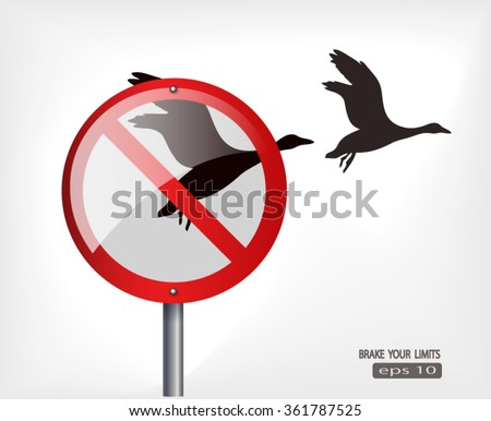 out of limits freedom and power concept with red roadsign and birds fly free  - stock vector