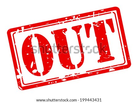 OUT red stamp text on white background - stock vector