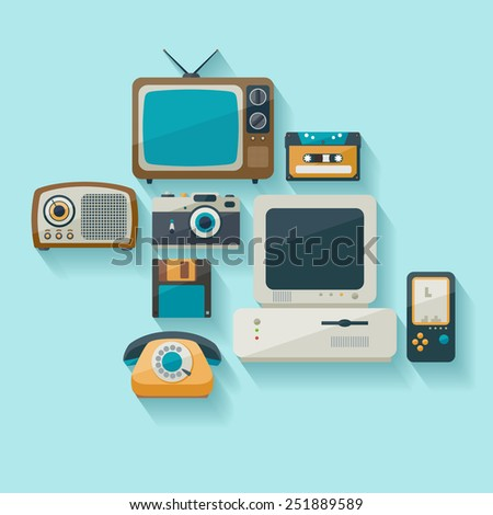 Outdated technology. Flat design. - stock vector