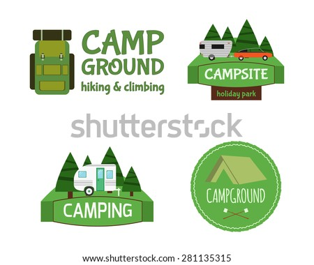 Outdoor  Activity Tourism Travel Logo Vintage Labels design template. RV, forest holiday park, caravan. Camping Badges Retro style logotype concept icons set. Vector illustration - stock vector
