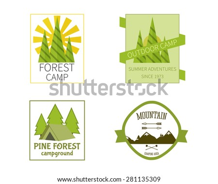 Outdoor Activity Travel Logo Vintage Labels design template. Forest holiday park, campground and campsite. Camping Badges Retro style logotype concept icons set. Vector illustration - stock vector