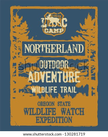 Outdoor adventure - artwork for boy wear in custom colors - stock vector