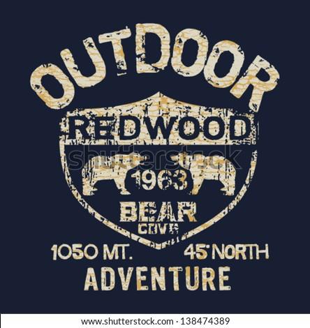 Outdoor Adventure - Vector artwork for boy t shirt in custom colors - stock vector