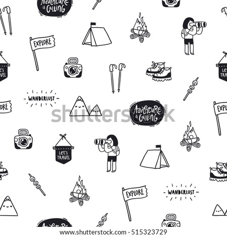 Outdoor adventures doodle seamless pattern